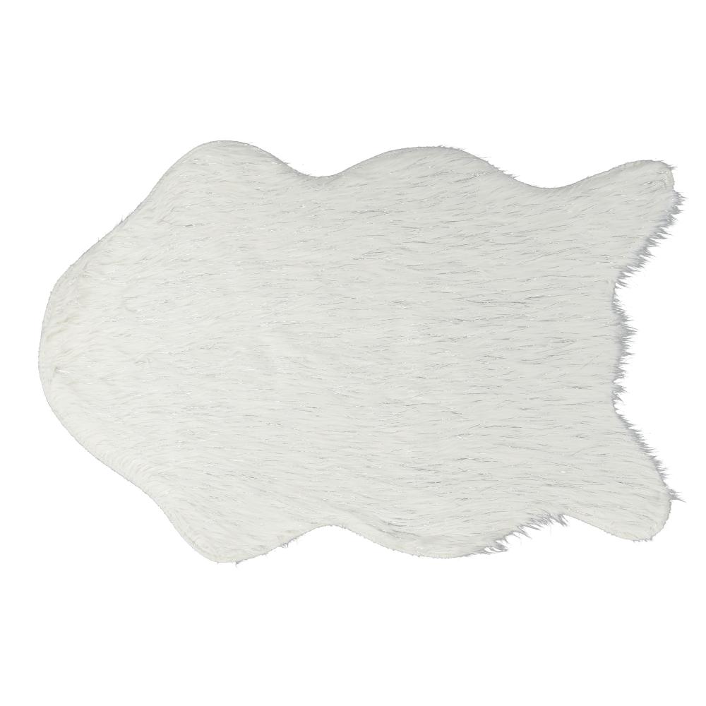 Blană artificială, alb/argint, 60x90, FOX TYP 1