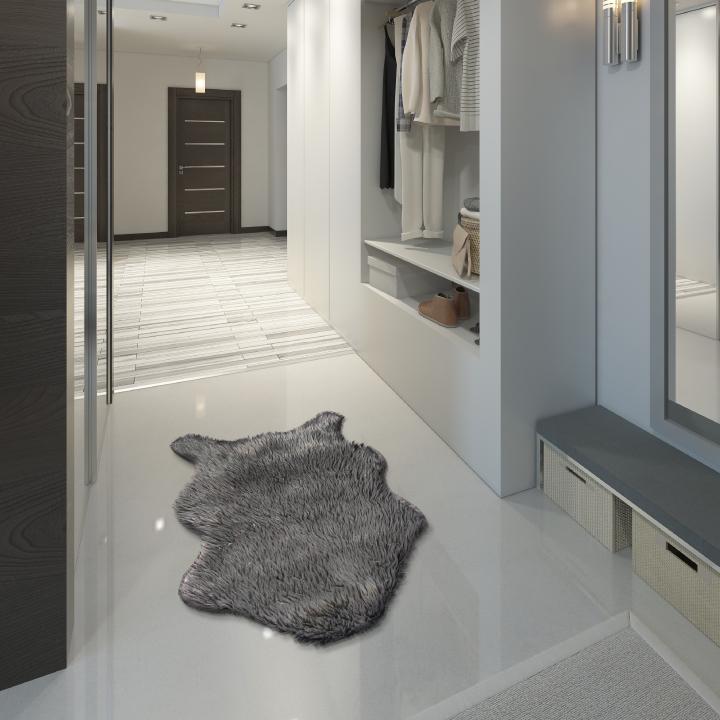 Umelá kožušina, sivá/strieborná, 60x90, FOX TYP 2 - fotka na bielom pozadí