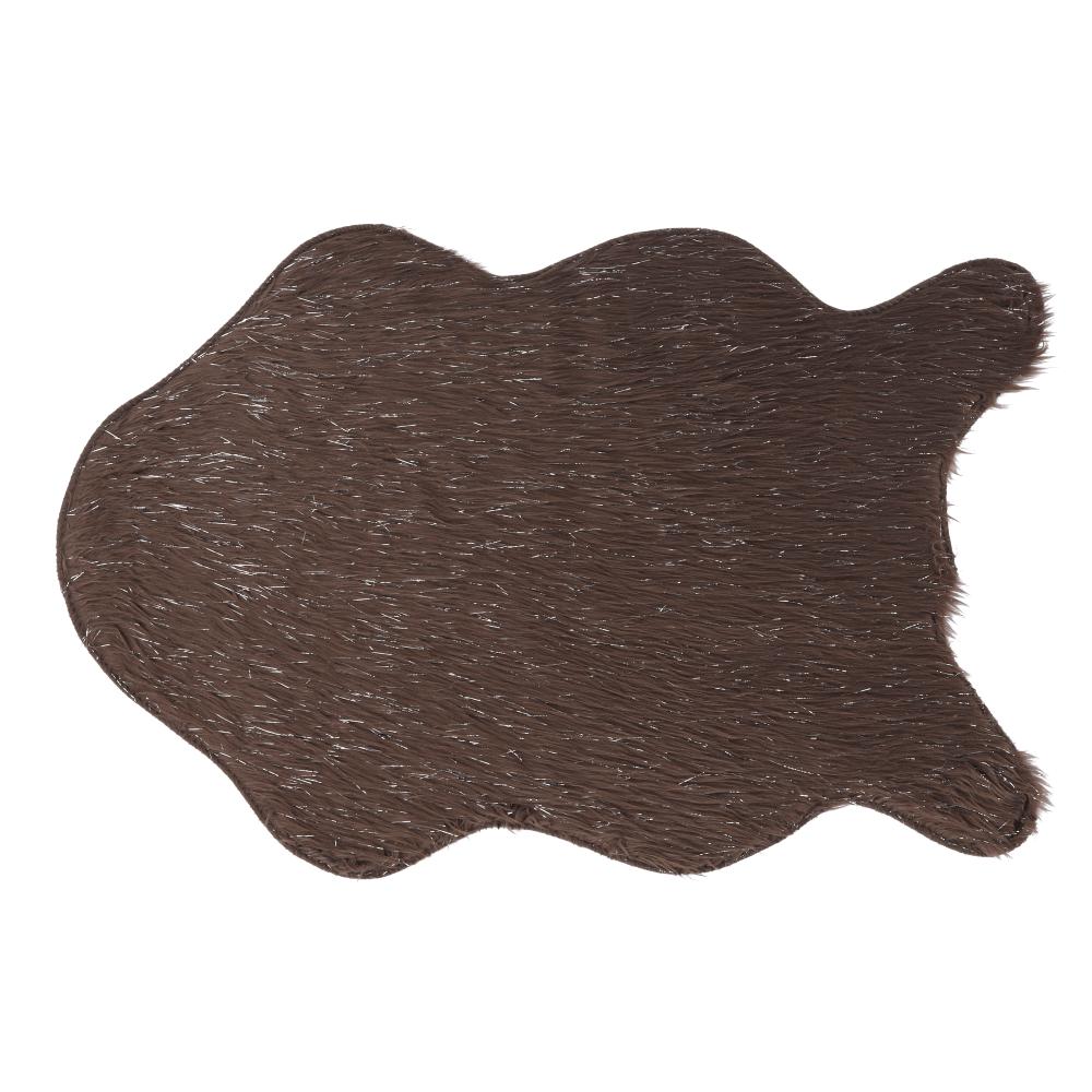 Blană artificială, gri-maro-taupe/argint, 60x90, FOX TYP 4