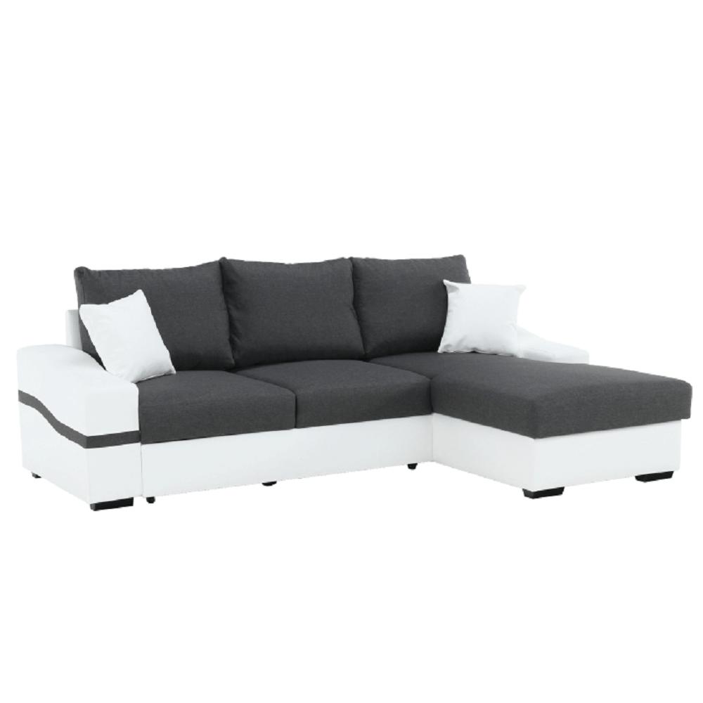 Ülőgarnitúra, fehér/szürke, jobb oldali, OREGON KIS SAROK