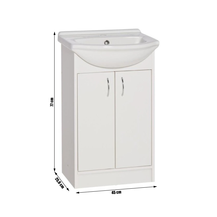Skrinka s umývadlom, biela, KAROTA D50 - fotka s rozmermi umývadla