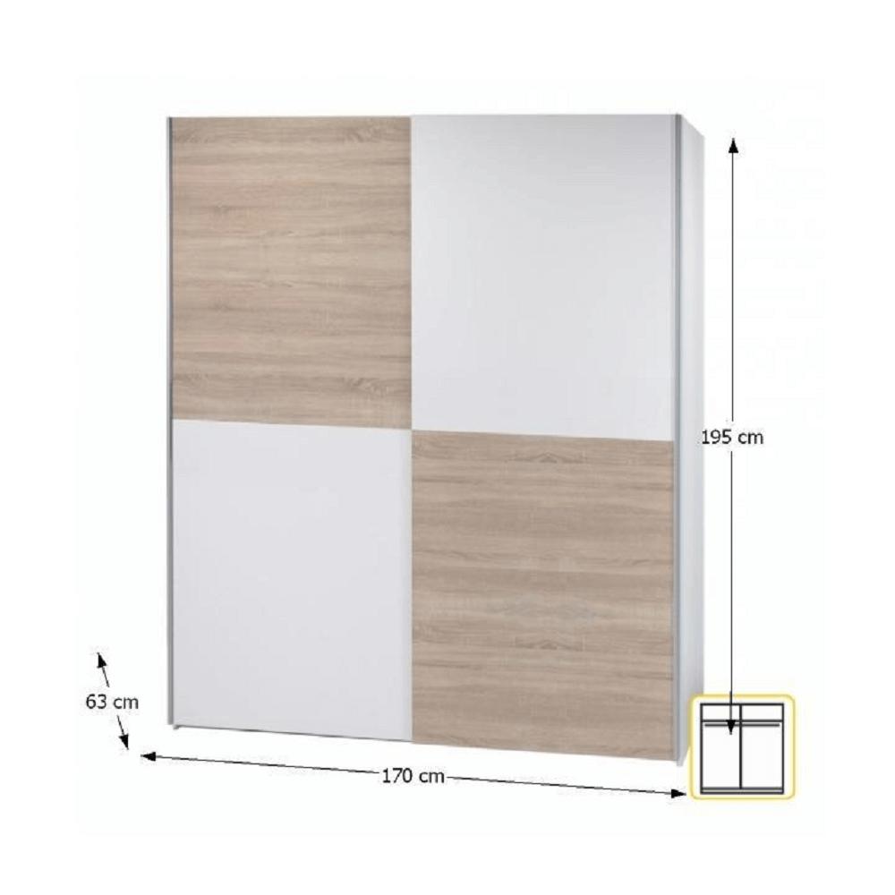 Dulap cu două uşi, uşi glisante, model şah, stejar sonoma/alb, VICTOR 2