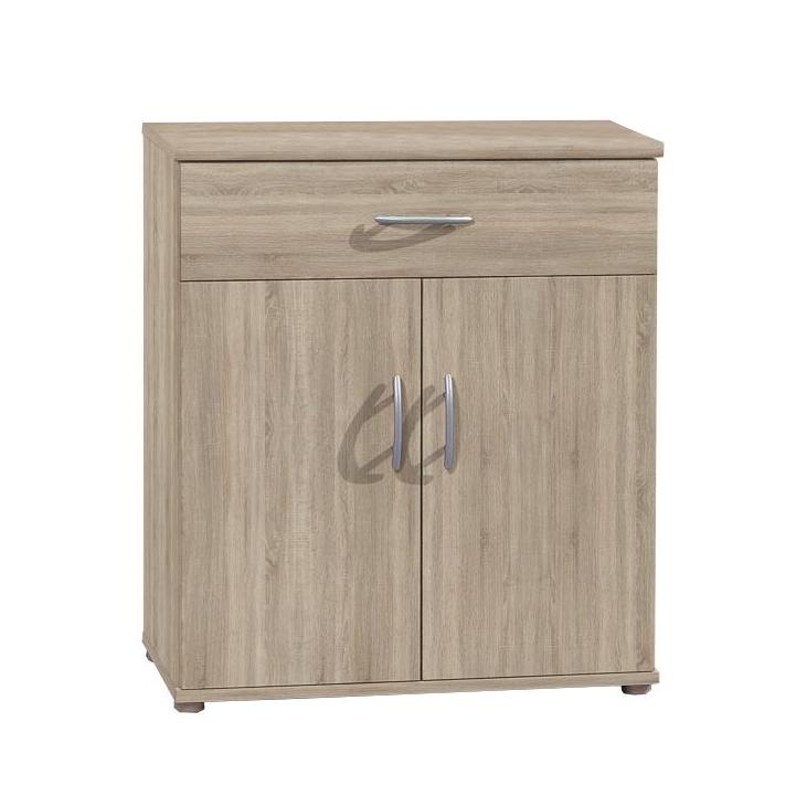 Komoda, 2 dverová s 1 zásuvkou, dub sonoma, na bielom pozadí, LILLY 11