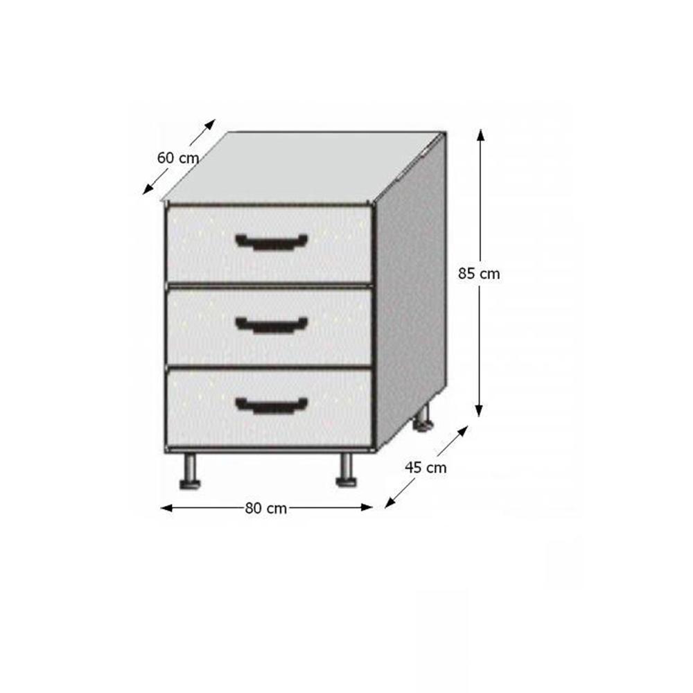 Spodná šuplíková skrinka, biela/wenge, JURA NEW B D-80 S3