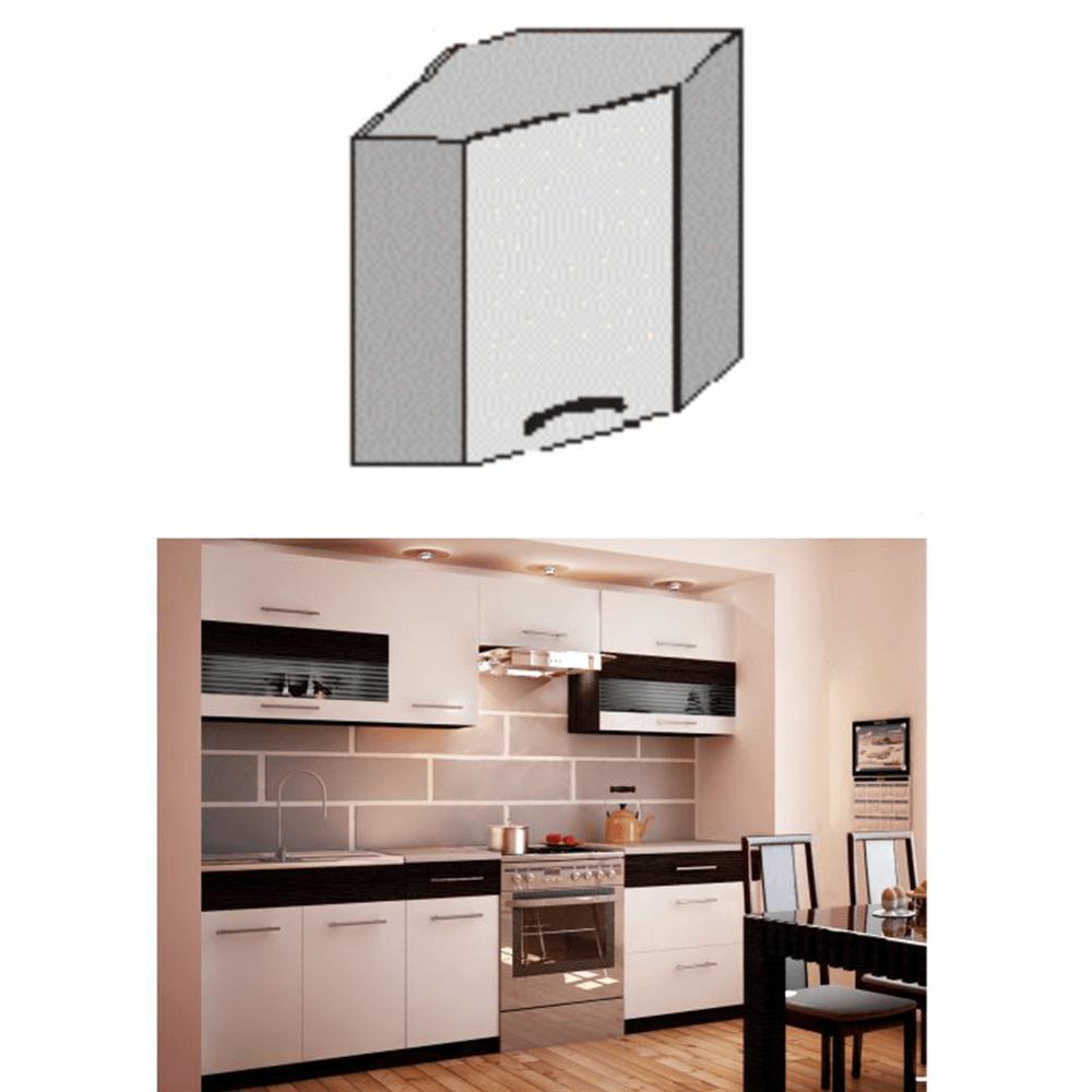 Felső sarok szekrény, fehér/wenge, JURA NEW B GN-58*58
