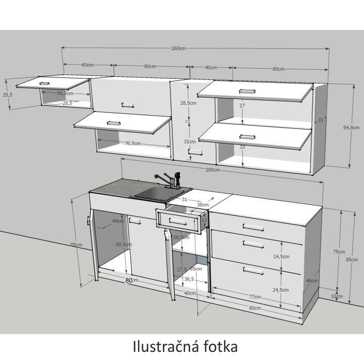 Kuchynská linka, biela/wenge, JURA NEW B ZS 2,6m