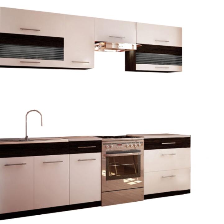 Kuchynská linka, biela/wenge, na bielom pozadí, JURA NEW B ZS 2,6m
