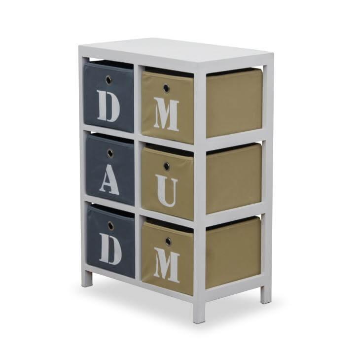 Komoda, biela / krémová / sivá, DAD & MUM, vrátený tovar