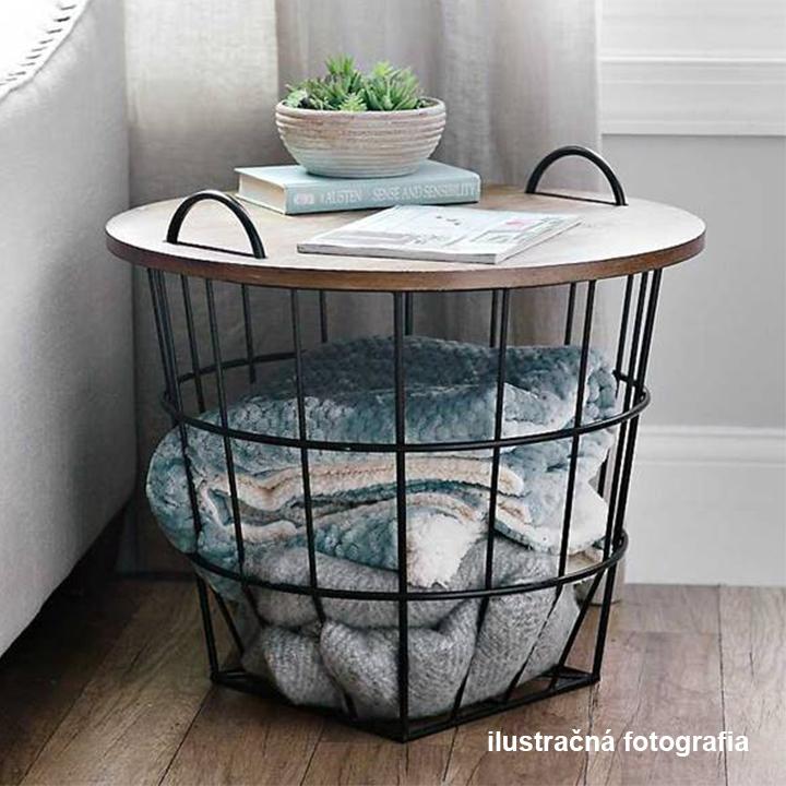 Príručný stolík, vzor prírodná/čierna, NANDO, interierová fotografia