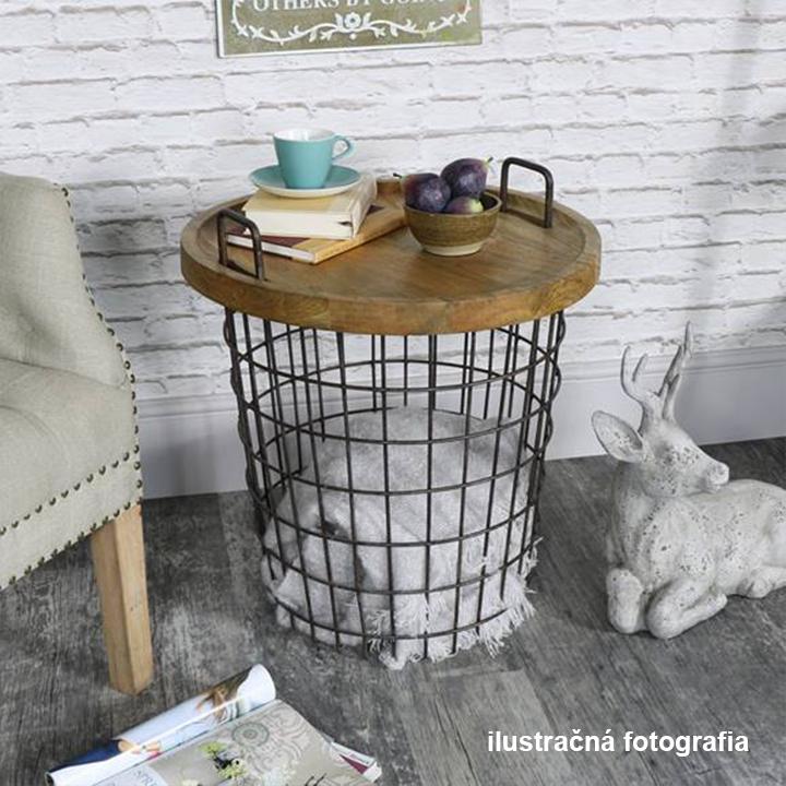 Príručný stolík, vzor prírodná/čierna, NANDO, ilustračná fotografia