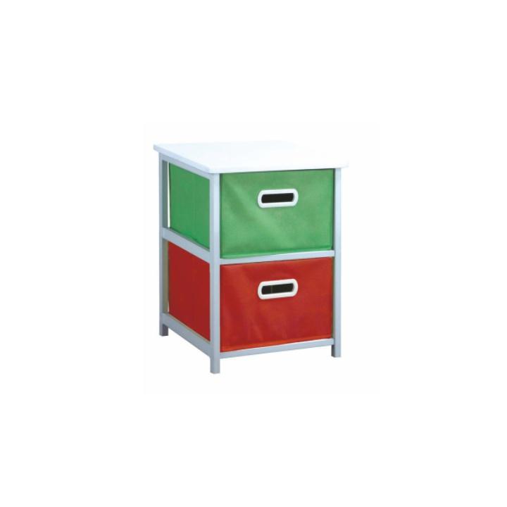 Viacúčelová komoda s úložnými boxami z látky, biely rám/farebné boxy, biele pozadie,  COLOR 97