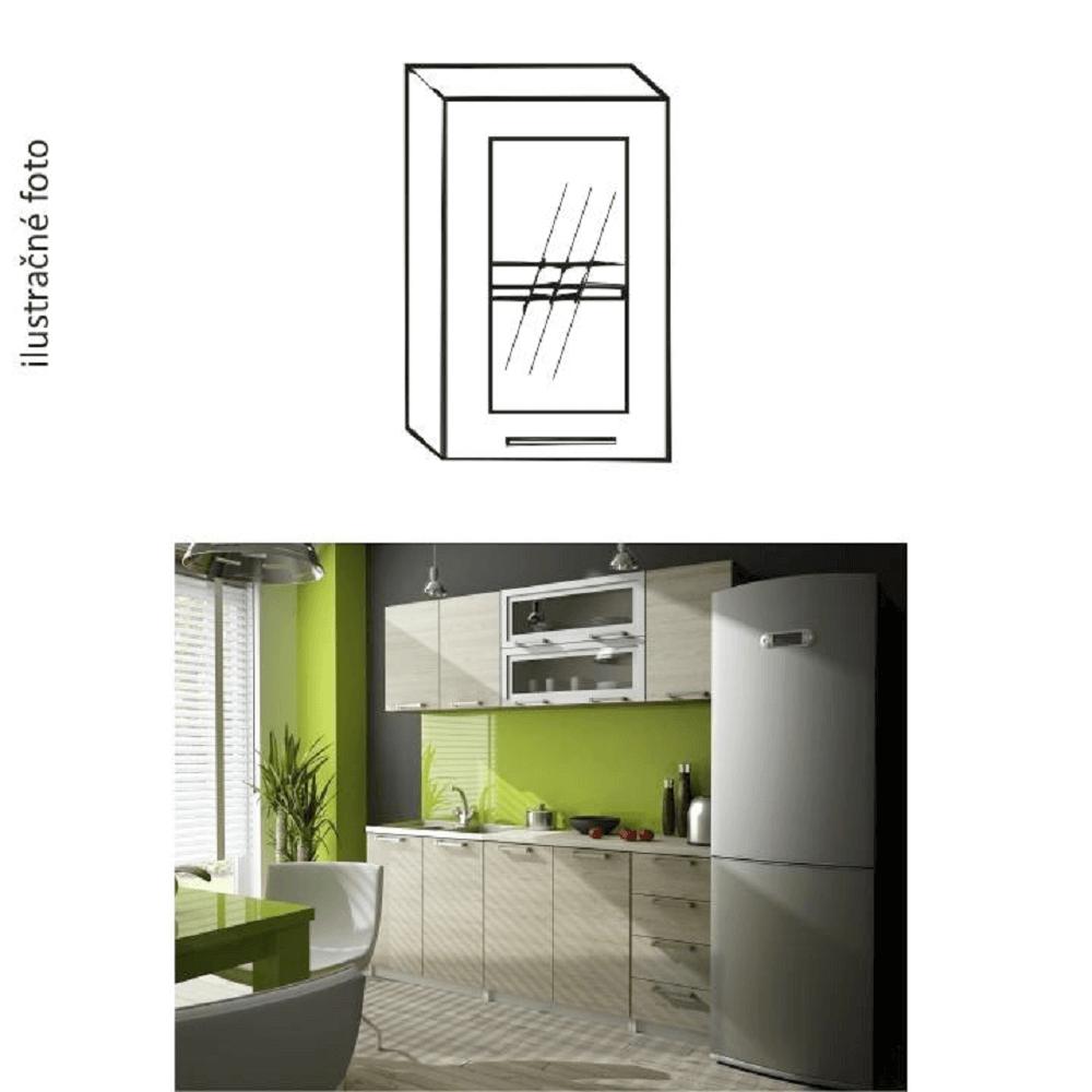 Kuchynská skrinka, ľavá, dub sonoma/biela, strieborné orámovanie/sklo, IRYS GW-40, rozbalený tovar
