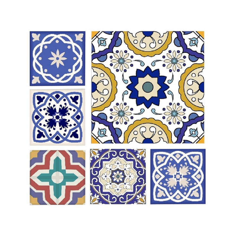 Vászonra nyomtatott festmény, kék/fehér/sárga, DX TYP 1 MODROTLAČ