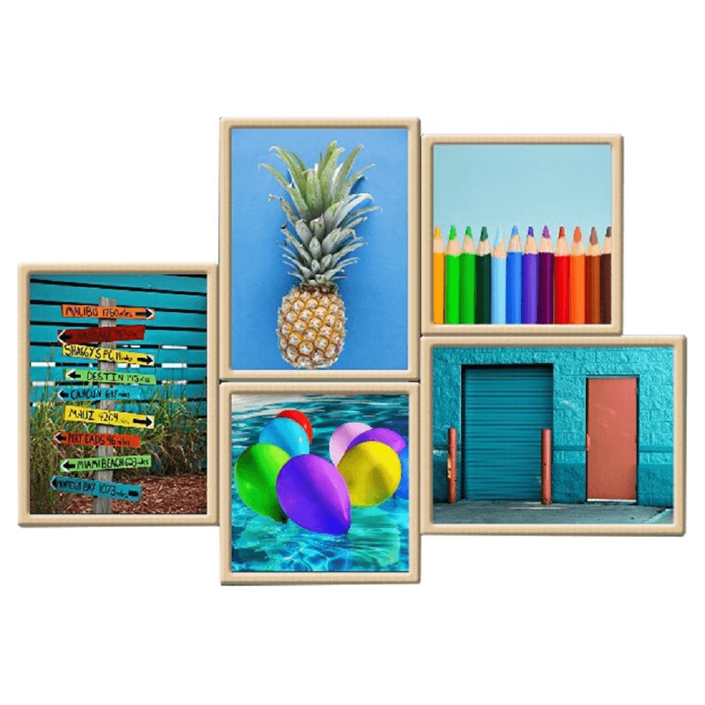 Tablou vitrat imprimat, multicolor, DX TYP 16 BLUES