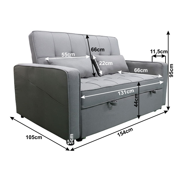 Rozkladacia pohovka, BIG BED, sivá, FRENKA