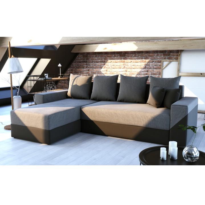 Univerzálna sedacia súprava, čierna/sivá, TIPO, interiér