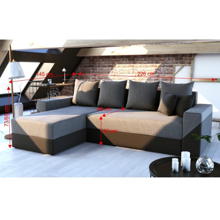 Univerzálna sedacia súprava, čierna/sivá, TIPO, s rozmermi