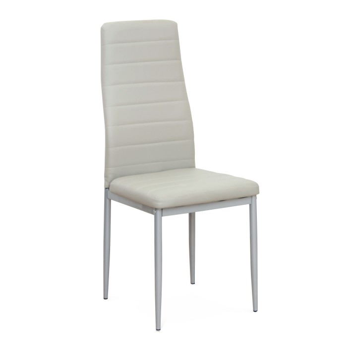 Stolička, svetlosivá ekokoža/sivý kov, COLETA NOVA, rozbalený tovar