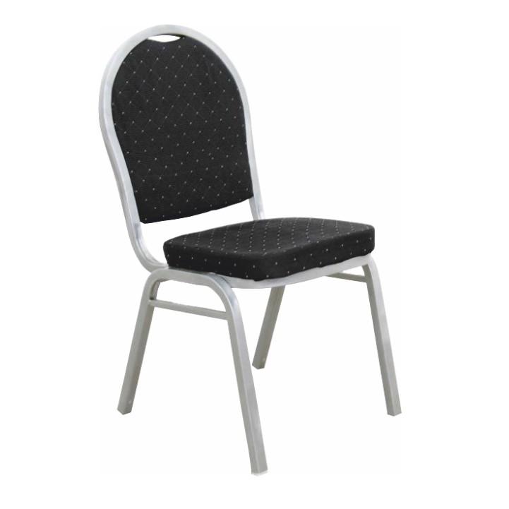 Stolička, stohovateľná, látka čierna/sivý rám, JEFF 2  NEW, poškodený tovar