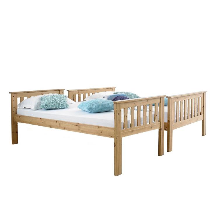Poschodová rozložiteľná posteľ, prírodná, LUINI, rozložená na dve lôžka
