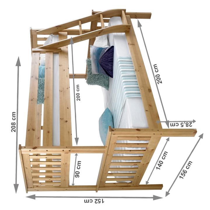Poschodová rozložiteľná posteľ, prírodná, LUINI, s rozmermi