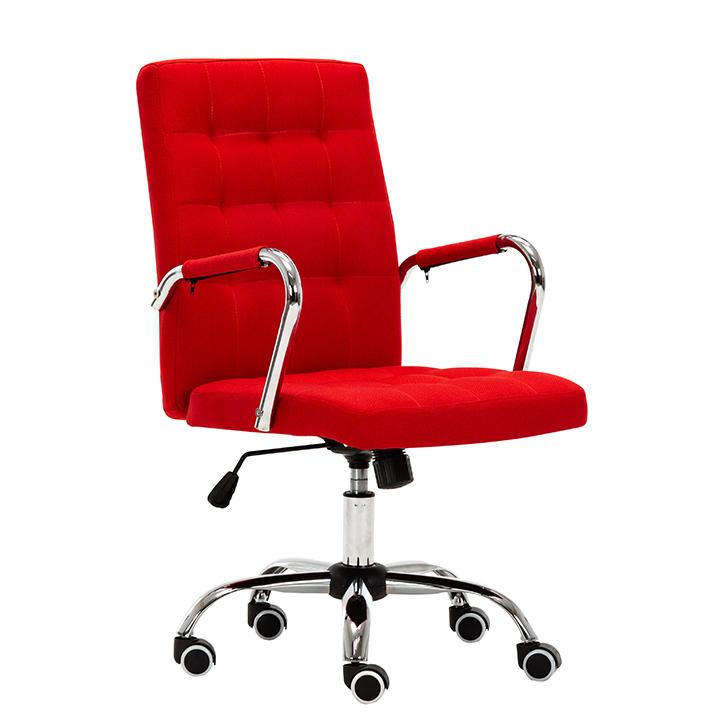Kancelárske kreslo, prevedenie červená látka, chrómová podstava, pogumované kolieska, MORGEN
