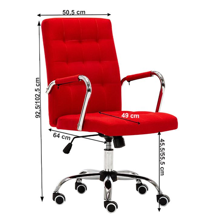 Kancelárske kreslo, prevedenie červená látka, chrómová podstava, pogumované kolieska, MORGEN, s rozmermi