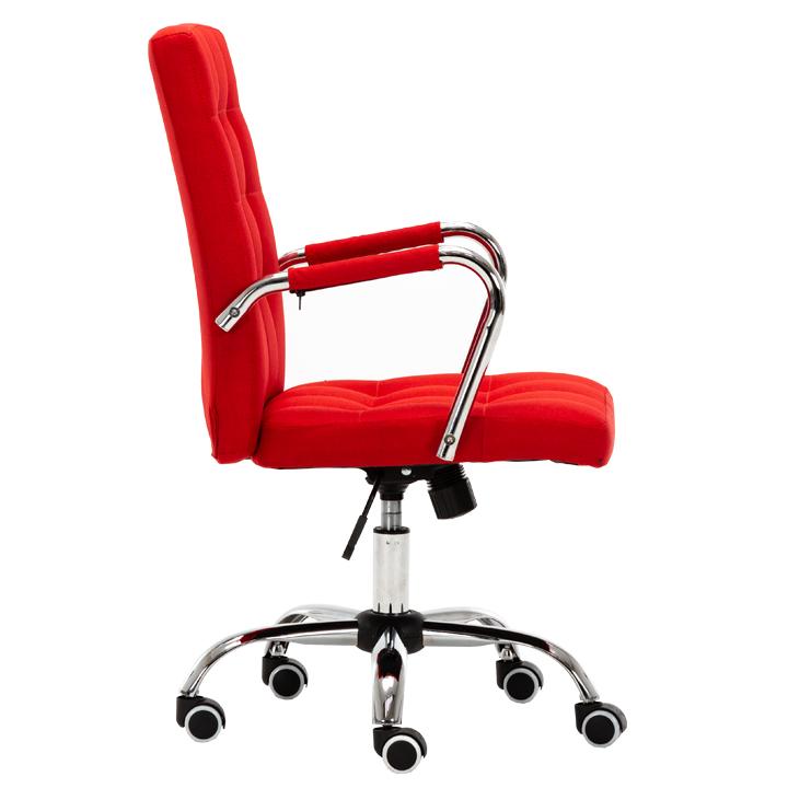 Kancelárske kreslo, prevedenie červená látka, chrómová podstava, pogumované kolieska, MORGEN, pohľad z boku