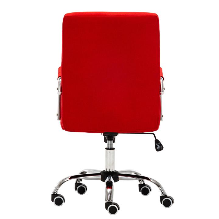 Kancelárske kreslo, prevedenie červená látka, chrómová podstava, pogumované kolieska, MORGEN, pohľad zo zadu