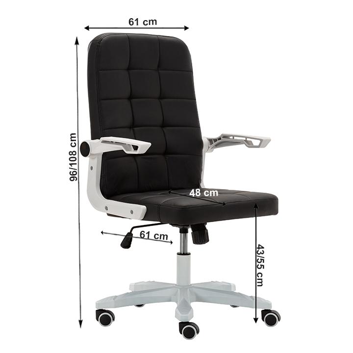 Kancelárske kreslo, biela/čierna, ZARGO, s rozmermi