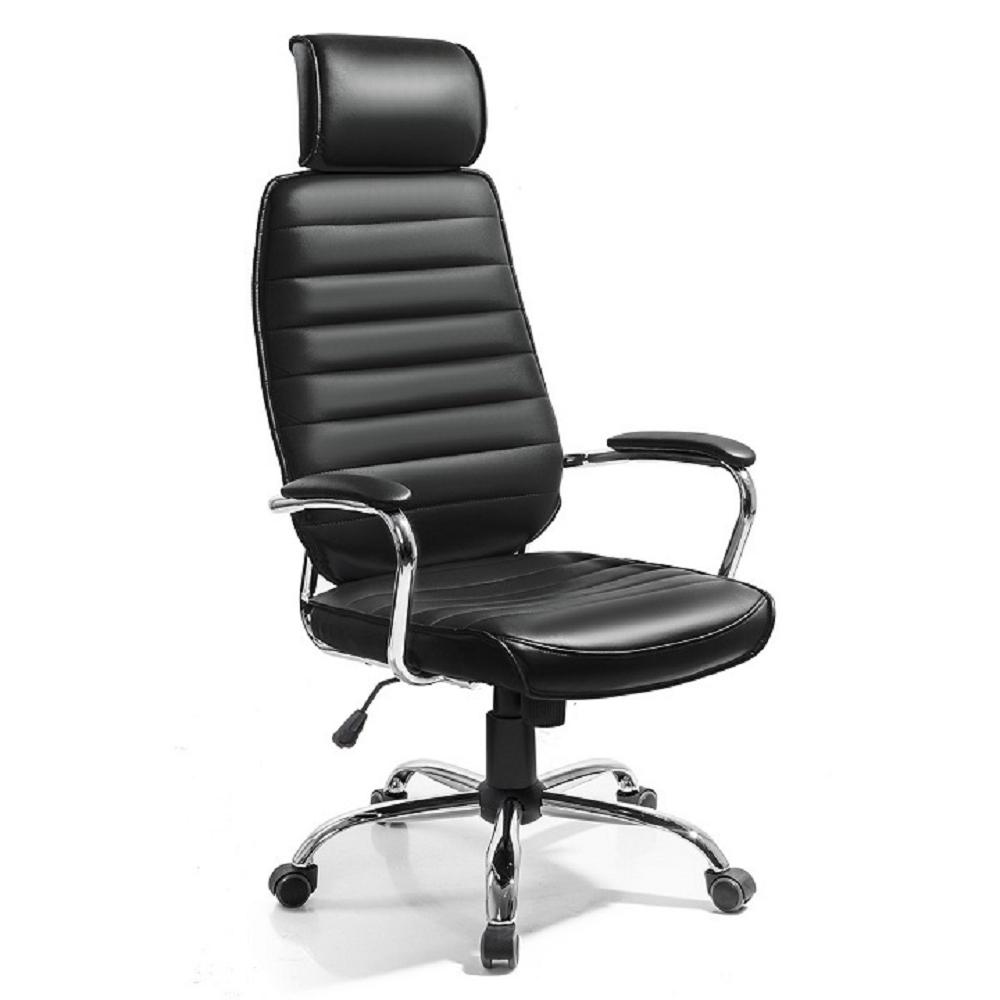 Kancelárske kreslo, čierna ekokoža, IZIDOR, rozbalený tovar