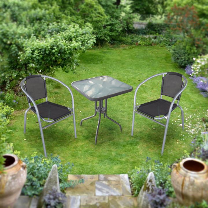 Záhradný set, čierna/strieborná, DENZER v exteriéri