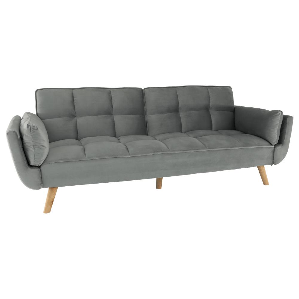 Kinyitható kanapé, világosszürke bársony/bükk, KAPRERA