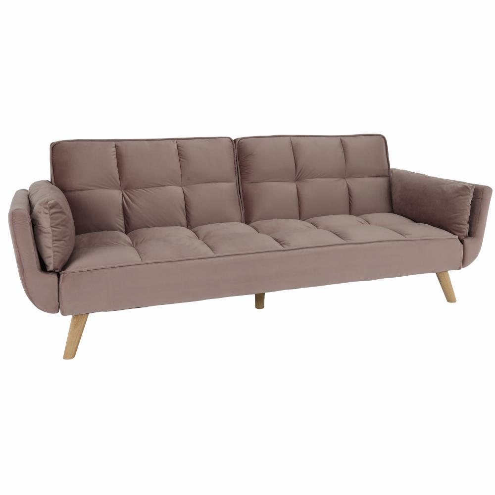 Kinyitható kanapé, vénrózsaszín bársony/bükk, KAPRERA