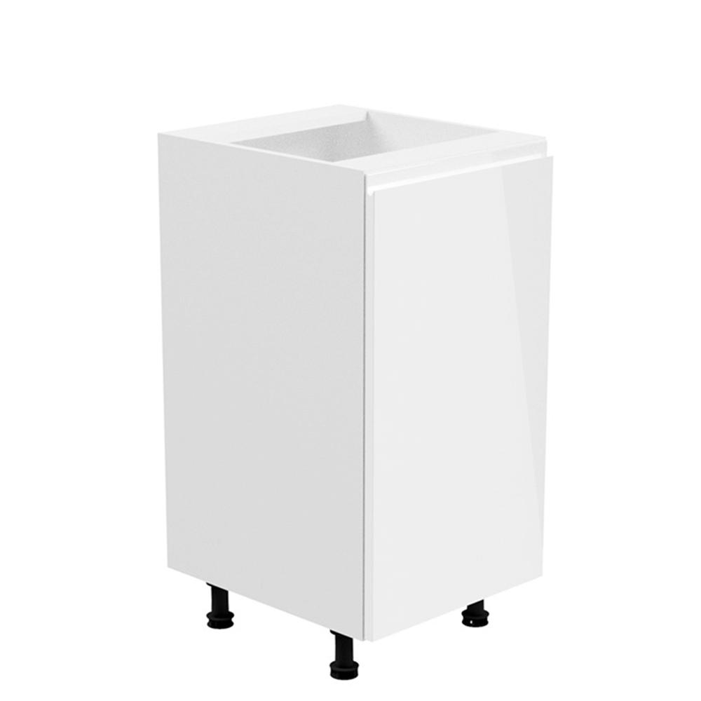Alsószekrény, fehér/fehér extra magasfényű, jobbos, AURORA D40