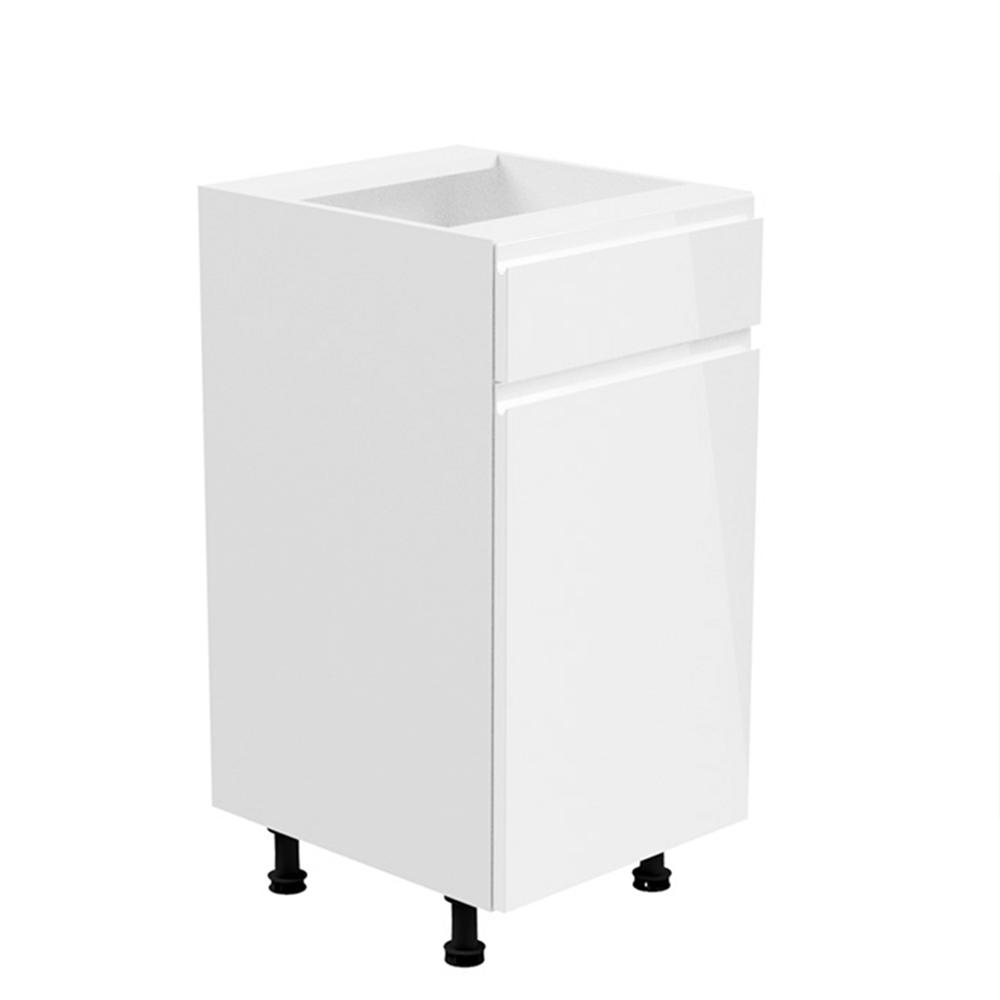 Alsószekrény, fehér/fehér extra magasfényű, jobbos, AURORA D40S1