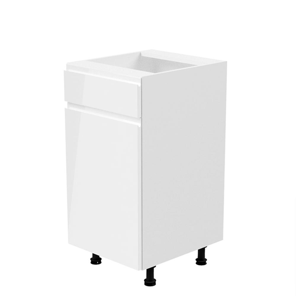 Dulap inferior, alb/alb extra lucios, de stânga, AURORA D40S2