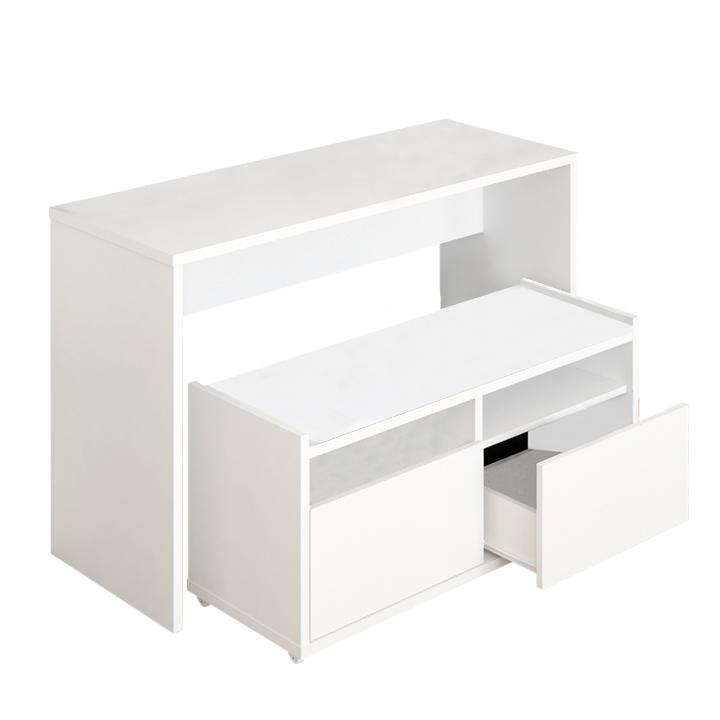 Viacúčelový stolík, biela, DELIMA