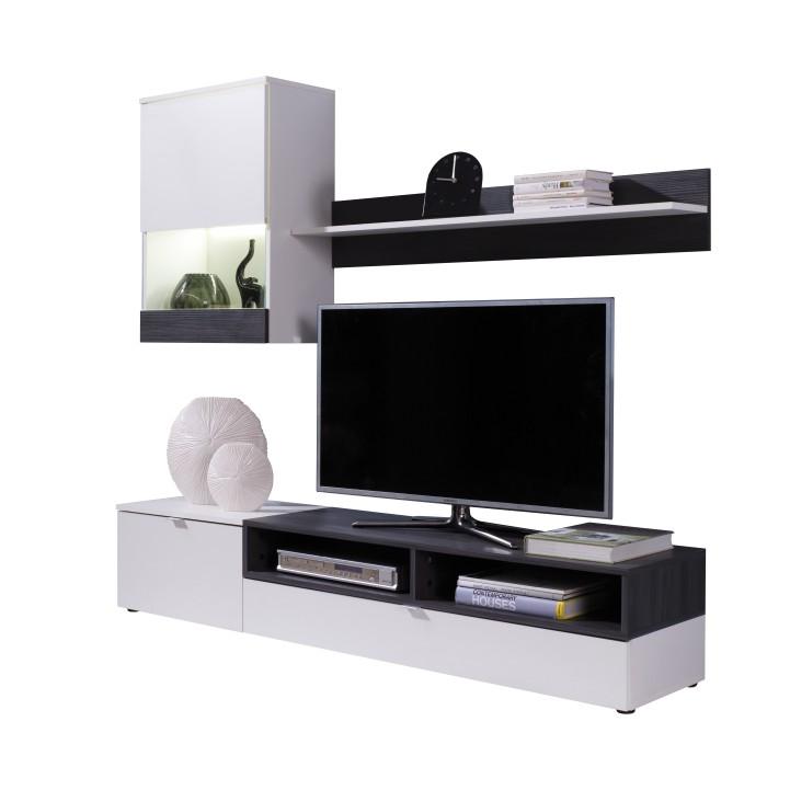 Obývacia stena, biela/sosna tmavá, ROSO, na bielom pozadí