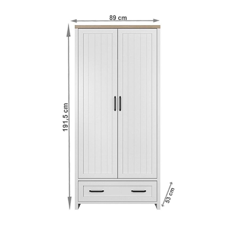 Kétajtós akasztós szekrény fiókkal, fehér/tölgy köves, VERLA 2D1S