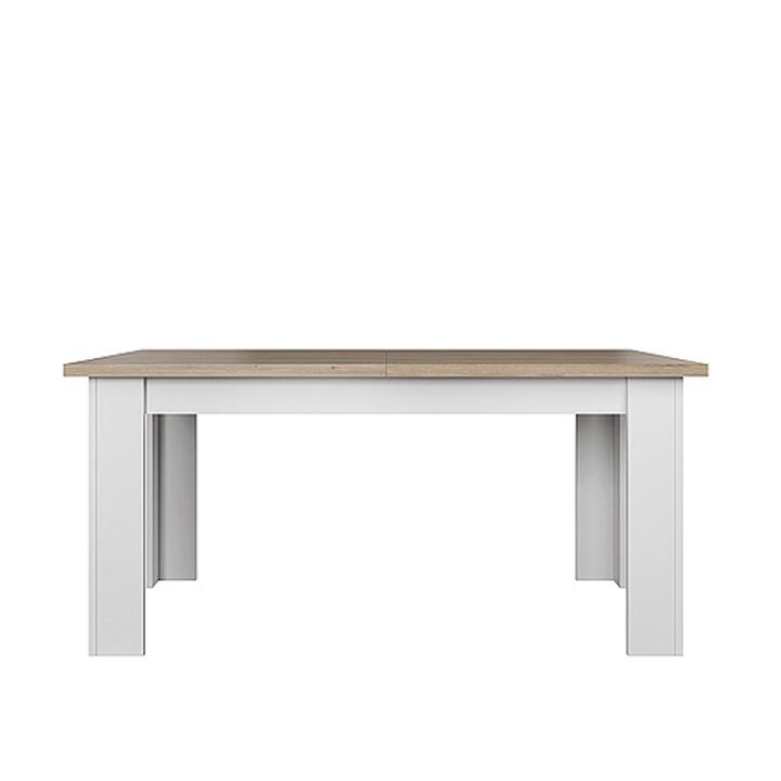 Jedálenský stôl, biela/dub kamenný, VERLA 160/210