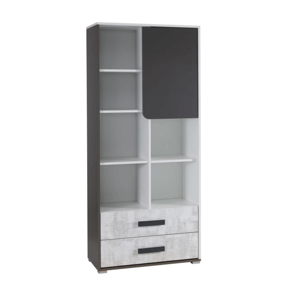 Kombinált szekrény, fehér/szürke grafit/enigma, MATEL