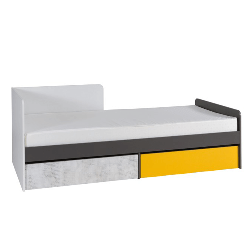 Ágy rakodótérrel B7, fehér/szürke grafit/enigma/sárga, MATEL