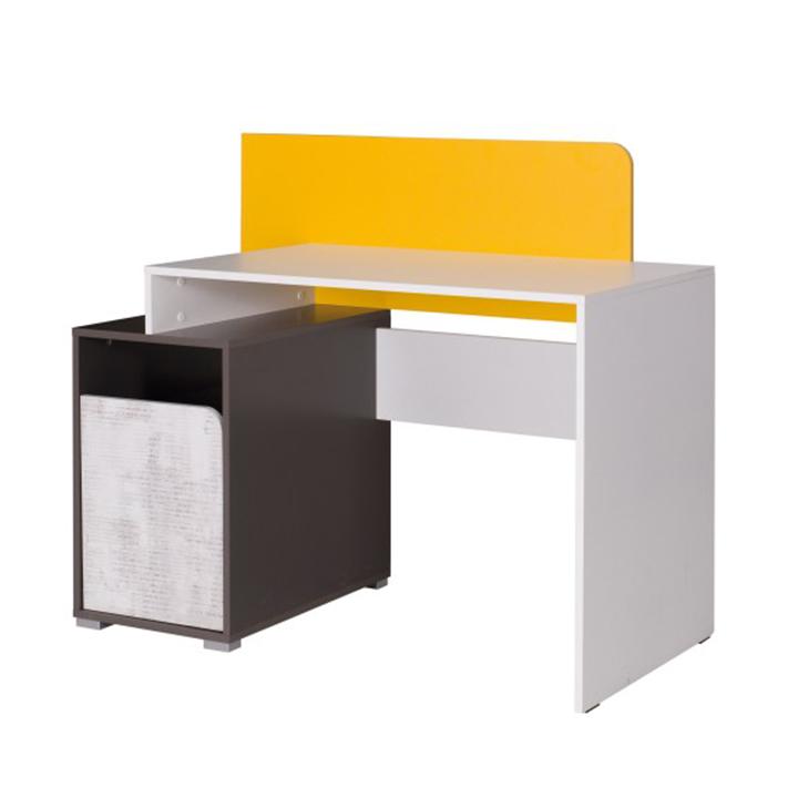 Masă PC B8, alb / gri grafit / enigmă / galben, MATEL