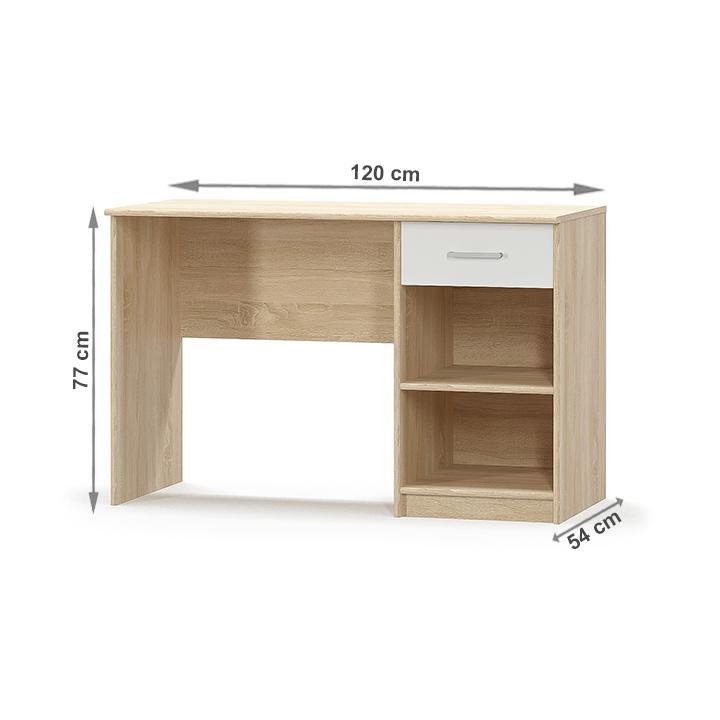 PC stôl 1S, biela/dub sonoma, TEYO, s rozmermi