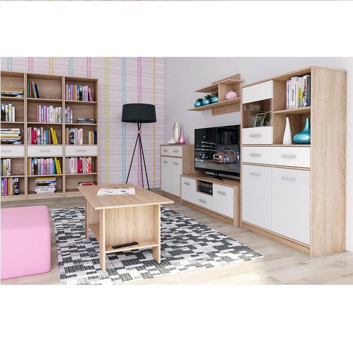 Konferenčný stolík, biela/dub sonoma, TEYO, interier 2