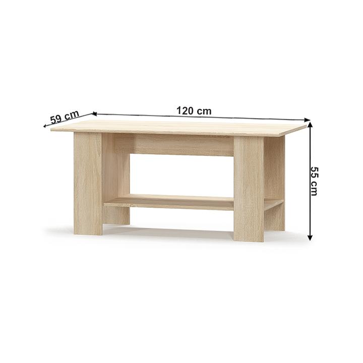 Konferenčný stolík, biela/dub sonoma, TEYO, s rozmermi