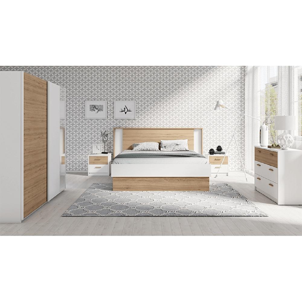 Set dormitor, alb /stejar sălbatic, SIMPLA