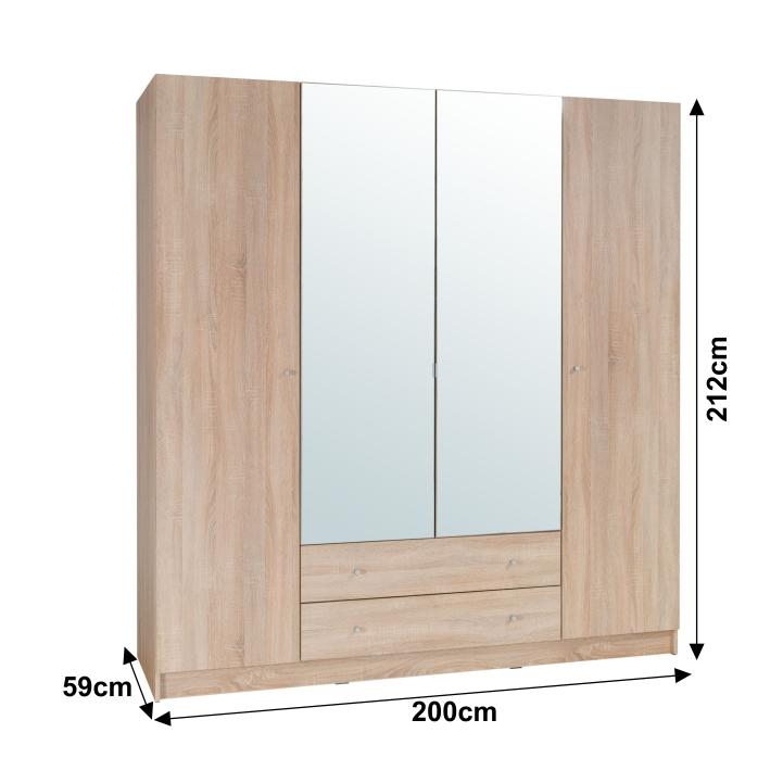 4-dverová skriňa, dub sonoma, MEXIM s rozmermi