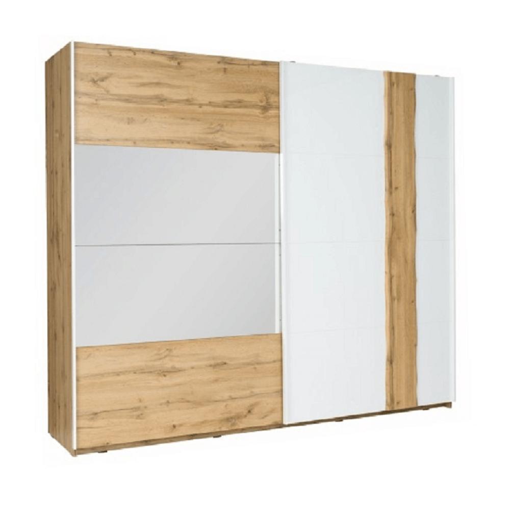 2-ajtós szekrény, tölgy wotan/fehér, VODENA 200